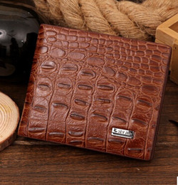 Vintage Christmas Post Cards Canada - Free Post 2016 new crocodile pattern men's fashion business casual short paragraph wallet
