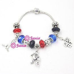 ice bracelets Canada - Free Shipping New Arrival DIY European Bead Style Sport Jewelry Fashion Sport Ice Hockey Charms Bracelets for Sport Fans Gift