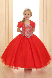 Veste En Perles Rouges Pas Cher-Rouge princesse robe de bal Little Girls robes Pageant avec court Belle boléro longueur de plancher de perles de cristal robe de tulle Puffy Kids Party