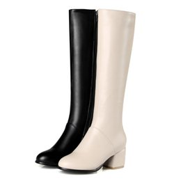 $enCountryForm.capitalKeyWord Canada - Fashion Women Ladies Shoes Synthetic Leather Block Heel Zip Round Toe Knee Boots B635 US Size 4 -10.5 Black, Beige