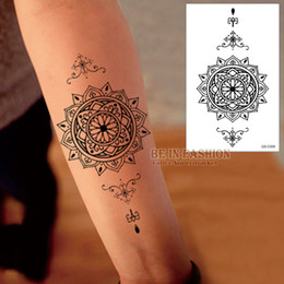Barato Tatuagens Cobre Cicatrizes Braços-Impermeável Tatuagem Temporária Adesivos Men Women big Scar Cover Flash Tatoo Compass Design preto Henna Tattoos braço QS-C006