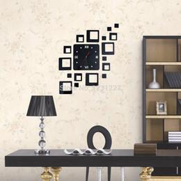 Modern Home Square Mirror Design Decoration Wall Clock Sticker Black Color