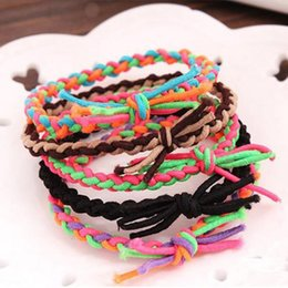 Braided Hair Ring NZ - 100 Korean version of the wild candy color hair circle colorful color elastic stretch rubber bandch braid hair ring hair accessories