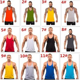 Vestes De Retour Pas Cher-12 couleurs Cotton Stringer Bodybuilding Equipment Fitness Gym Chemise Tank Top Solid Singlet Y Retour Vêtement Sport Vest 10003