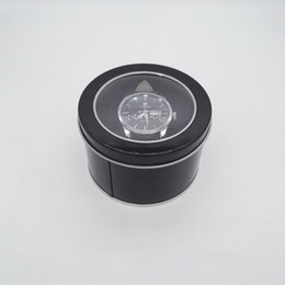 Wholesale Window Display Boxes NZ - 100pcs Round Tin Box With Transparent Window Lid & Sponge Plain Black Metal Can Storage Case For Watch Gift Boxes
