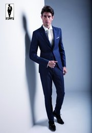 Dark Blue Fitted Suit - Hardon Clothes