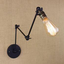Vintage Swing Arm Wall Lamp NZ - industrial retro vintage black adjust head swing arm wall lamps e27 lights sconce for bedside bedroom corridor luminaire bar