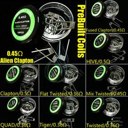 Bobines pré-construites 9 types de résistances chauffantes pour enrouler des fils Alien fusionné Clapton Quad Quad Tie Quad Tie Mix Tops Mods Vapor RDA tête de bobine en Solde