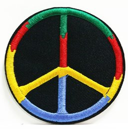 embroidered logo patch Canada - Wholesales~10 Pieces Rainbow Peace Logo (7.5 cm x 7.5 cm) Punk Embroidered Applique Iron on Patch (B)