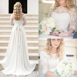 Chinese  2019 New Summer Boho Cheap Beach Wedding Dresses Country Style Bateau Neck Backless Half Sleeves Chiffon A-line Bridal Gowns BC0699 manufacturers