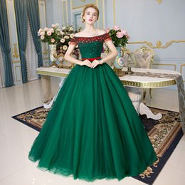 100%real green red beading crystal full luxury ball gown medieval dress  Renaissance gown Sissi princess Victorian Marie Belle Ball 6503de34a995