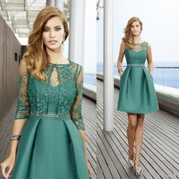 Barato Vestidos De Cetim-2017 New Green Knee Length Vestidos formais da mãe Crew Neck Sheer Lace Elegant A-line Satin Cheap Prom Party Vestidos com jaqueta