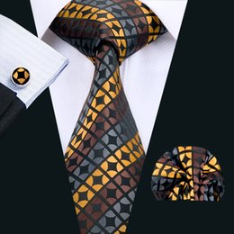 classic silk NZ - Classic Silk Men Ties Stripes Tie Sets Newest Mens Nectie Tie Hankerchief Cufflinks Set Jacquard Woven Meeting Business Wedding Party N-1460