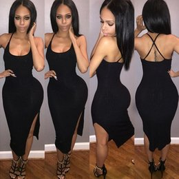 black women dress styles NZ - 2016 fashion summer style sexy dress women tank dress black side split sleeveless dress female Mid-Calf dresses Backless Criss Cross dress