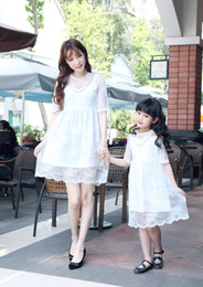 $enCountryForm.capitalKeyWord NZ - MOM Daughter Dresses Family Matching Clothes Summer Girls Lace Dress Mom baby Clothing Sets Children Kids Party Skirts fashion