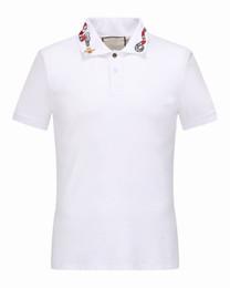 c3319f5ef 2018 Itália roupas fora t-shirt dos homens gola do tigre branco bordado  pentagrama roupas de hip hop dos homens camisas de grife branco preto polo  camisa