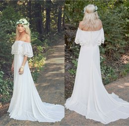 af03ee19f1aeb 2018 Vintage Bohemian Country Wedding Dresses Cheap Bateau Neck Sweep Train  Lace Chiffon A Line Plus Size Maternity Bridal Gowns