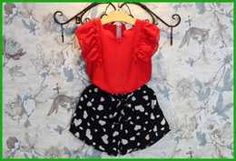 $enCountryForm.capitalKeyWord Canada - summer girls suits red floral lace sundress korean style famous children clothing love heart printed black short dress