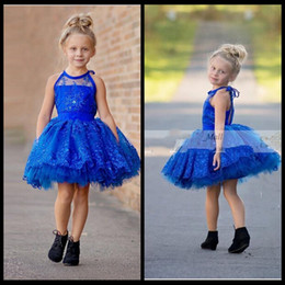 $enCountryForm.capitalKeyWord Australia - Royal Blue Short Flower Girl Dresses Organza Crystal Sequins Ball Gowns Girls Pageant Gowns Kids Princess Girls Dress Tutu