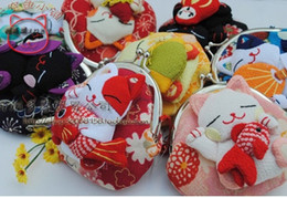Discount lucky coins - Wholesale- Wholesale, Japanese style,Lucky cat coin purses,coin bags,Zero Wallet,Japanese kimono fabric 16pcs lot