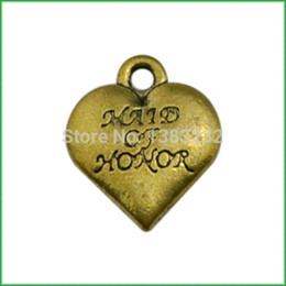 Charms Honor NZ - free shipping 50pcs a lot antique bronze plated made of honor heart pendant charm