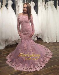 $enCountryForm.capitalKeyWord Canada - 2016 Pink Long Sleeves Colored Wedding Dresses Tulle Mermaid Beaded Bridal Gowns Sheer Arabic Dubai Style Cheap Vestido De Noiva