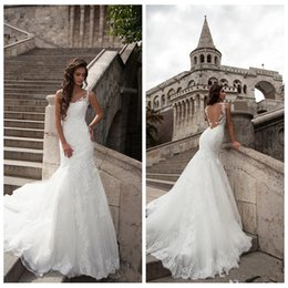 Adelgazante Vestido Barato Baratos-Sheer Lace Appliques Mermaid Wedding Dresses 2017 Vestidos De Novia Custom Plus Size