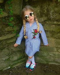 Blue striped children dress online shopping - Autumn Kids Dress Girl Rose Embroidery Stripe Dresses Kids Long Sleeve Shirt Dress Children Shirt Dress