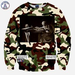 Barato Hoodie Dos Crânios Do Hip-hop-Hip Hop Camouflage WHITE estilo homens 3d sweatshirt print skulls letras WHITE number 13 lovely hoodies long sleeve autumn tops