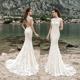 Barato Vestido De Renda De Trompete Mermaid Bateau-New Arrival Mermaid Lace Wedding Dresses Sheer Bateau Neck Backless Vestidos de noiva Sweep Train Trumpet Vestido de noiva sem mangas