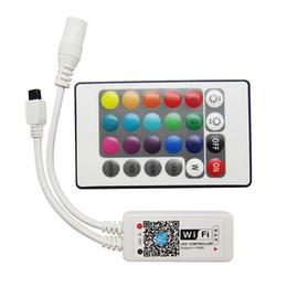 Rgbw Wifi Controller NZ - DC9-12V 16million Colors Wifi LED RGB   RGBW Controller + IR 24 Key Remote Control For Led Strip Light 25sets lot