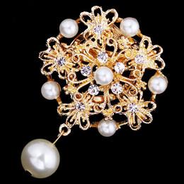 $enCountryForm.capitalKeyWord Canada - Alloy Rhinestone Crystal pearls Vintage Look Flower Wedding Cake Brooch two colors