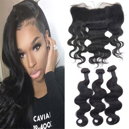 34 inches hair Australia - 8A Grade Brazilian Body Wave Hair With Lace Frontal Closure Human Hair Weaves With 13X4 Lace Frontal Ear To Ear