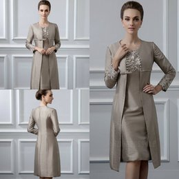 winter wedding dresses mother bride Australia - Two Piece Mother of the Bride Dresses With Jacket Taffeta Lace Applique Bead Sheath Knee-Length Mother Of The Groom Dress Wedding Guest Gown