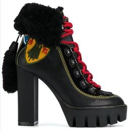 China 2018 Winter Women Motorcycle Boots platform High Heels Botas Mujer fringe cross tied woolen Snow Boots Ankle Boots for women cheap tassel fringe heels suppliers