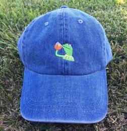 Brown Bear Hats Canada - KERMIT TEA Hat (slide buckle) none of my business emoji king lebron james meme sun golf hats kanye west ye bear caps casquette
