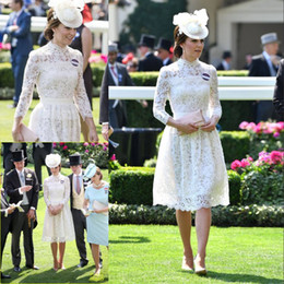 Discount knee length lace kate dress - Charming White Lace Short Prom Dresses With Long Sleeves High Neck Evening Gowns A-Line Knee Length Kate Middleton Forma