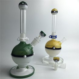 14mm Bong Sets NZ - pokeball glass bong pipe with 14mm male glass bowl 18mm plastic keck clip 5 piece-sets for smoking