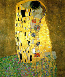 $enCountryForm.capitalKeyWord NZ - Gustav Klimt - The Kiss Young lovers,Pure Hand-painted world famous Abstract portrait Art Oil painting On Canvas, In Any size customized