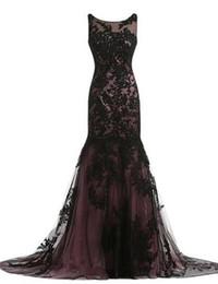 $enCountryForm.capitalKeyWord UK - New Stunning Mermaid Black Lace Evening Dress Sleeveless Jewek Neck Sweep Train Hollow Back Party Gowns Custom Made