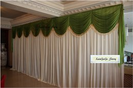10ft20ft hot sale free shipping ivory ice silk backdrop curtains with apple green drapes swags with beautiful tassel can customized