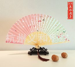 $enCountryForm.capitalKeyWord Canada - Japanese Style Cherry blossom Pink folding fan silk top grade bridal fans Bridesmaid fans hollow bamboo handle wedding accessories Fold fans