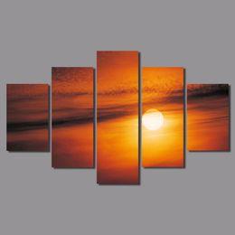 $enCountryForm.capitalKeyWord Australia - 5pcs set orange Big size decoration sun wall art pictures sunset landscape gold Canvas Painting living room home decor unframed
