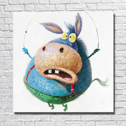 Funny Picture Animal Canada - Hand drawing funny donkey cartoon animal oil painting rope skipping pictures animal paintings for living room wall