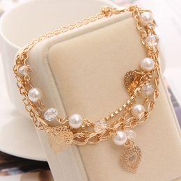 $enCountryForm.capitalKeyWord Australia - Hesiod Multilayer Fashion Bracelets For Women Austrian Crystal Pierced Heart Charm Bracelets Bangles Luxury Jewlery