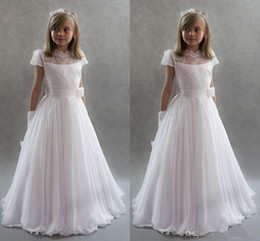 $enCountryForm.capitalKeyWord Canada - Pure white chiffon long communion dresses with sash lace short sleeves zipper back little flower girls dresses for weddings