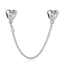 $enCountryForm.capitalKeyWord NZ - BELAWANG 925 Sterling Silver Heart Shape Safety Chain Cartoon Charm Beads with Clear CZ fit Pandora Charm Bracelet DIY Jewelry Making