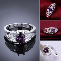 $enCountryForm.capitalKeyWord Australia - Mix size 10 pieces 925 silver Purple gem hollow ring lace Free shipping GSSR550 Factory direct sale new fashion sterling silver finger ring