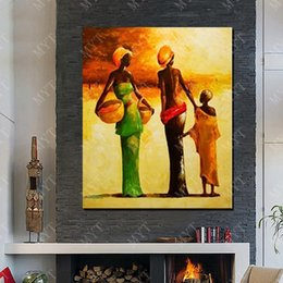 $enCountryForm.capitalKeyWord NZ - Painting on Sale Hand made Picture on Wall Abstract Modern African Women Oil Painting Pictures for Living Room Decoration No Framed