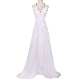 Gown Back Front UK - 2019 Newest Sexy White Long Prom Dresses Chiffon Beaded Prom Party Gown Split Front Deep V Neck See Through Back Evening Dress Cheap